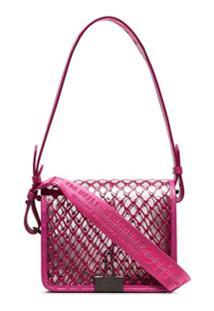 Off-White Bolsa Tiracolo Com Transparência E Textura - Rosa