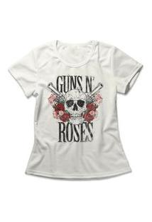 Camiseta Feminina Guns N' Roses Skull Off-White