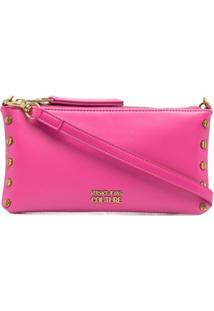 Versace Jeans Couture Clutch Com Placa De Logo - Rosa