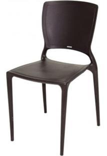 Cadeira Sofia Encosto Fechado Polipropileno Marrom - 20042 Sun House