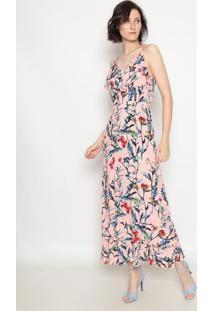 Vestido Longo Com Renda - Rosa- Operateoperate