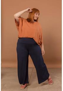 Calça Pantalona Plus Size Marinho