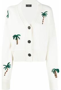 Alanui Cardigan Com Bordado De Palmeira - Branco
