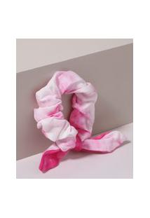 Elástico De Cabelo Scrunchie Estampado Tie Tye Com Laço Pink