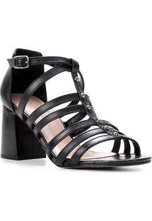 Sandália Couro Shoestock Rebites Salto Bloco Feminina - Feminino-Preto