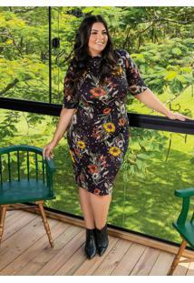 Vestido Floral Preto Com Gola Alta Plus Size