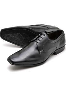 Sapato Social Couro Confort Reta Oposta Masculino - Masculino-Preto