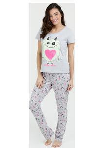 Pijama Feminino Estampa Monstrinhos Manga Curta Marisa
