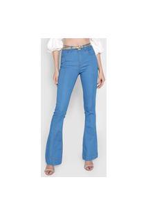 Calça Jeans Grifle Company Flare Pespontos Azul