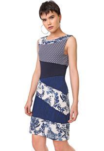 Vestido Desigual Curto Olivia Azul/Branco