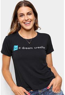 Camiseta Volare Be A Dream Creator Manga Curta Feminina - Feminino-Preto