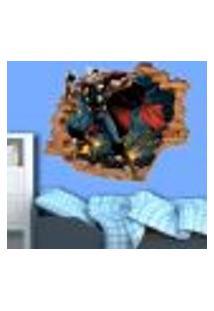 Adesivo De Parede Buraco Falso 3D Infantil Thor - M 61X75Cm
