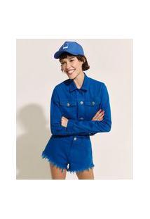 Jaqueta De Sarja Feminina Pantone Cropped Com Barra A Fio Azul