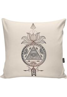 Capa Para Almofada Indians- Off White & Preta- 45X45Stm Home