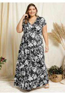 Vestido Longo Floral Preto Transpasse Plus Size