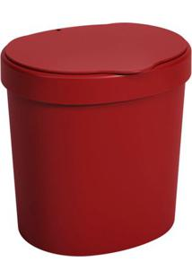 Lixeira Coza Com Tampa Vermelho 2,5L Unica