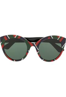 Gucci Eyewear Óculos De Sol Com Estampa Geométrica - Verde