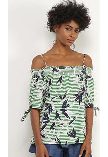 Blusa Lily Fashion Listrada Alcinha Feminina - Feminino-Verde
