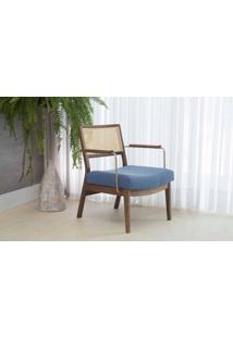 Poltrona Palhinha Moderna Lavanda - Aço Dourado Verniz Capuccino Tec.930 Azul Claro 63,5X64X78 Cm