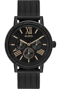 Relógio Feminino Euro Multiglow Party Eu6P29Ahn/4P 42Mm Aço Preto - Tricae