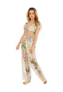 Calça Zinco Pantalona Cós Alto Com Transparência Roxo
