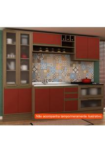 Cozinha Compacta Safira Ii 9 Pt 5 Gv Vermelha E Avelã