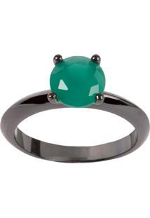 Anel Solitário The Ring Boutique Pedra Cristal Verde Esmeralda Ródio Negro