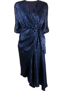 Etro Vestido Franzido De Jacquard Floral - Azul