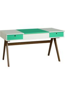 Mesa Escrivaninha Delacroix 430 Nogal/Branco/Verde Anis - Maxima