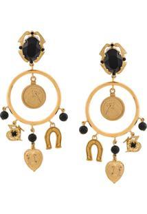 Dolce & Gabbana Par De Brincos Com Pingentes - Dourado