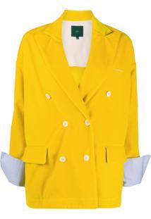 Jejia Blazer Com Abotoamento Duplo - Amarelo