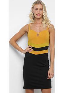 Vestido Curto Heli Tubinho Recorte Bicolor - Feminino-Preto+Amarelo