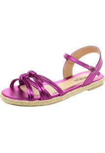 Sandália Love Store Corda Tiras Em Nó Pink