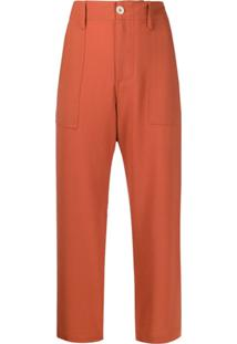 Jejia Cropped High-Waist Trousers - Laranja