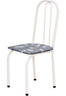 Cadeira Marcheli Baixa 0.101 Assento Reto Branco/Cinza Claro Floral