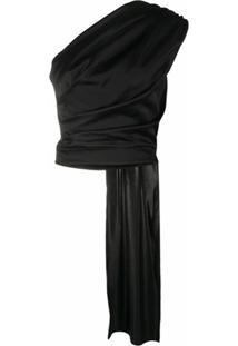 Materiel Blusa Ombro Único Com Drapeado - Preto