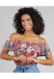 Blusa Feminina Ciganinha Cropped Estampada De Folhagens Manga Curta Rosê