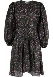 Isabel Marant Étoile Floral-Print Gathered Waist Dress - Preto