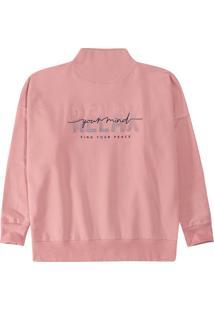 Blusão Rosa Relax Em Moletom