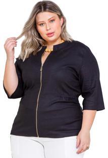 Jaqueta Linho Palank Plus Size Bertim - Preta