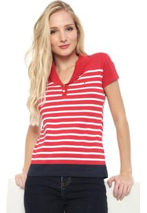 Camisa Polo Aleatory Listrada Vermelha