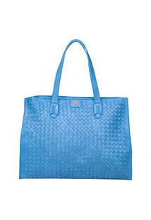 Bolsa Tote Feminina Ana Hickmann Casual Tressê Azul