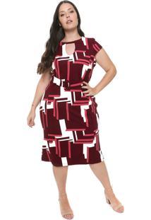 Vestido De Malha Plus Size Da Predilects Vinho