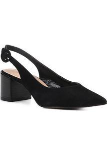 Scarpin Couro Shoestock Salto Baixo Wild - Feminino-Preto
