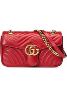 Gucci Bolsa Gg Marmont Matelassê Pequena - Vermelho