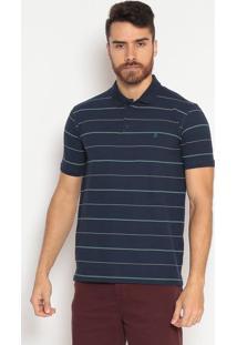 Polo Slim Fit Listrada - Azul Marinho & Verdeindividual