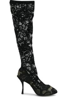 Dolce & Gabbana Bota Com Renda Translúcida - Preto