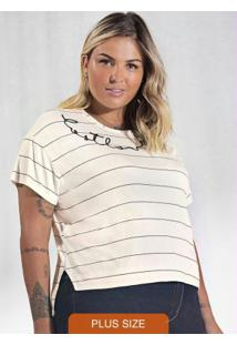 Blusa Plus Size Listrada Secret Glam Bege