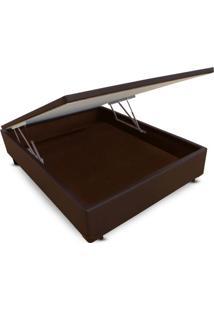 Cama Box Casal Corano Marrom Baú Frontal - 138X188
