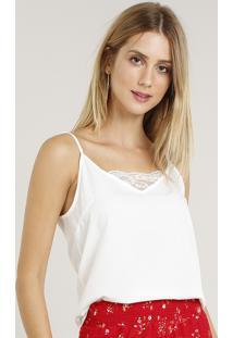 Regata Feminina Com Renda Decote V Off White